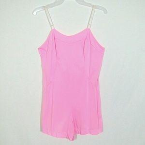 Vtg pink lingerie romper